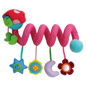 Es un móvil con forma de gusano, una espiral de colores, sonidos y