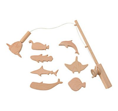 juguetes de madera - cana de pescar