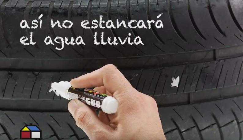 neumático reciclado - agujeros para el agua