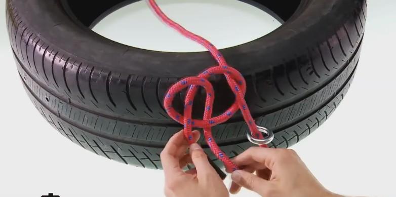 neumático reciclado - colocar la cuerda