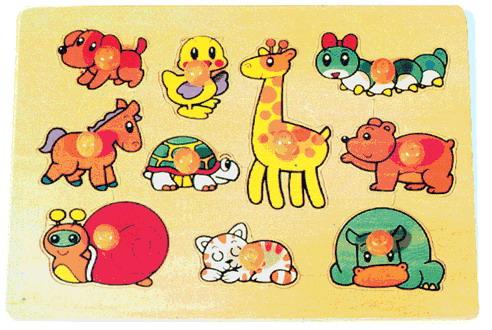 Madera Animales Con Puzzle De Formas Juguetes Nnvm80wO